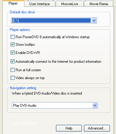 PowerDVD 8 Configuration: Player
