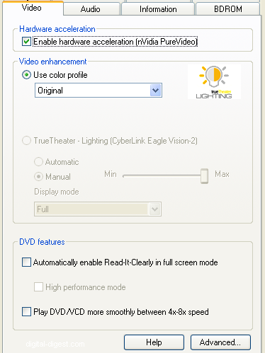 PowerDVD 8 Configuration: Video