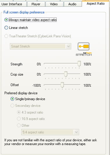 PowerDVD 9 Configuration: Aspect Ratio