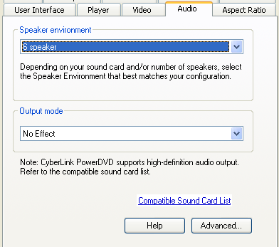 PowerDVD 9 Configuration: Audio