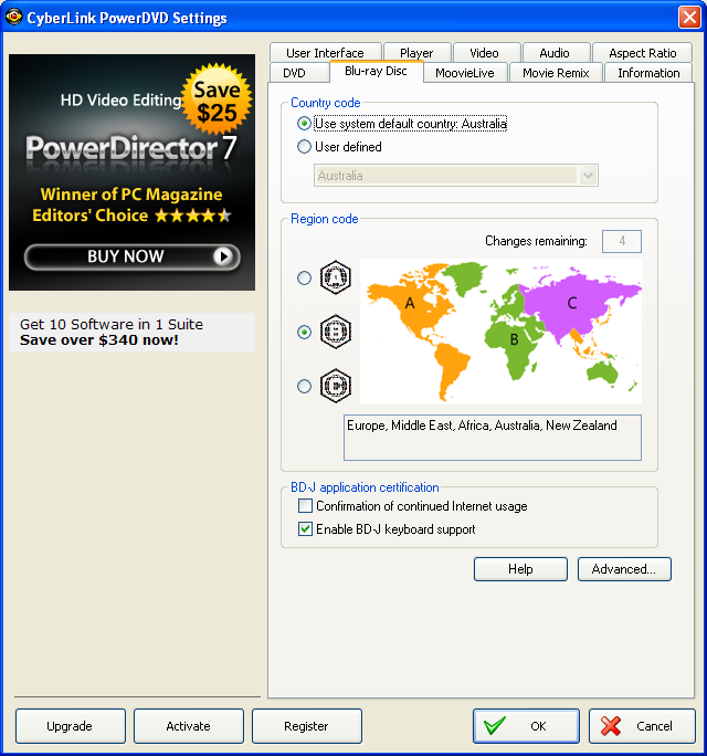PowerDVD 9 Configuration: BDROM