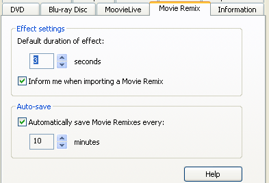 PowerDVD 9 Configuration: Movie Remix