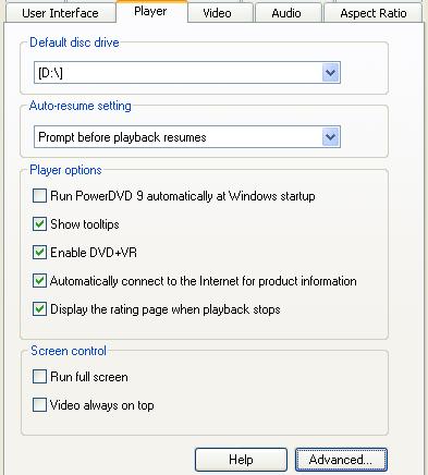 PowerDVD 9 Configuration: Player