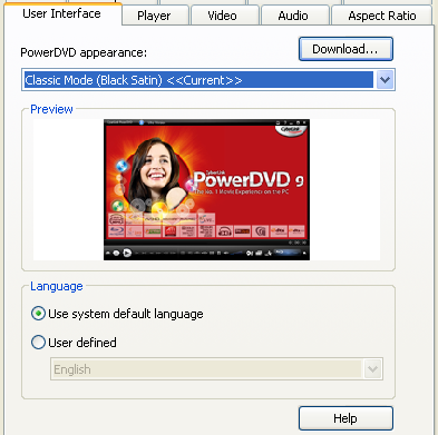 PowerDVD 9 Configuration: User Interface