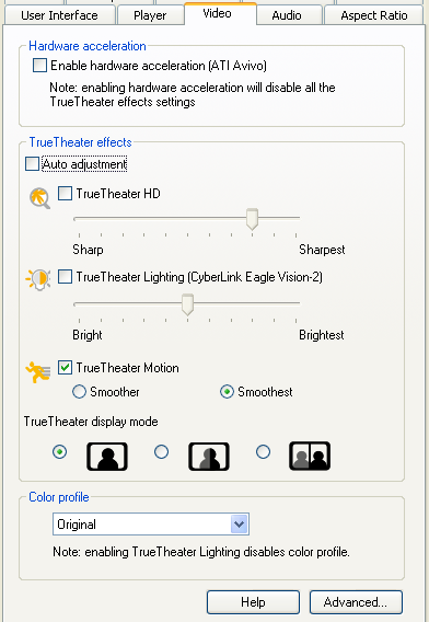 PowerDVD 9 Configuration: Video