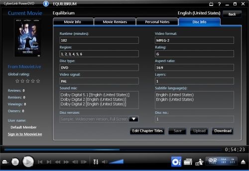 PowerDVD 9: Disc Info