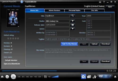 PowerDVD 9: Movie Info