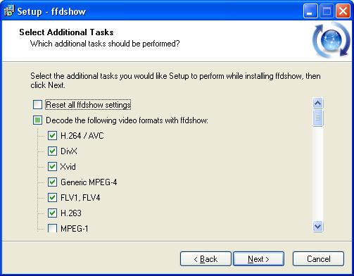 ffdshow: Installer