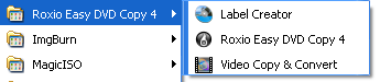 Roxio Easy DVD Copy: Start Menu Folder