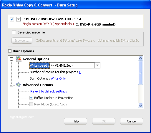 Roxio Video Copy & Convert: Advanced Copy Options