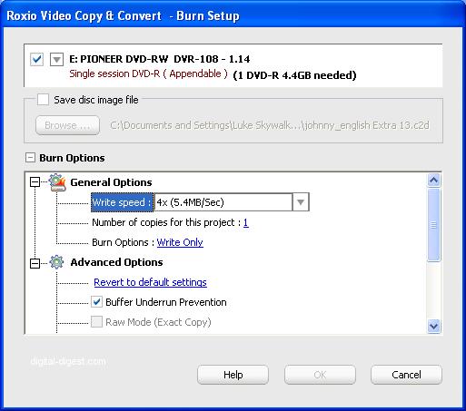 Roxio Video Copy & Convert: Advanced Copy Options