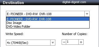 Roxio Video Copy & Convert: Destination: Disc