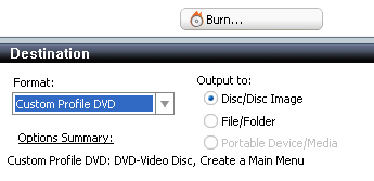 Roxio Video Copy & Convert: Destination: Disc