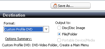 Roxio Video Copy & Convert: Destination: DVD-Video Folder