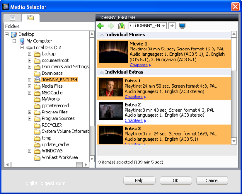 Roxio Video Copy & Convert: Select DVD Titles