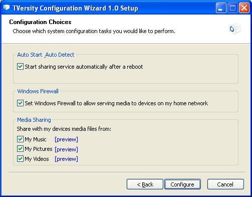 TVersity: Configuration Wizard