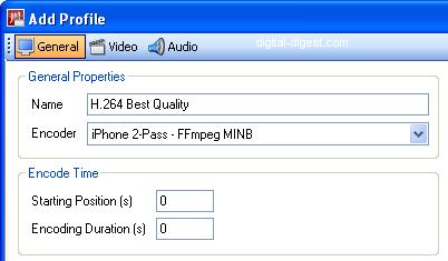 Videora iPhone Converter: Add Profile - General