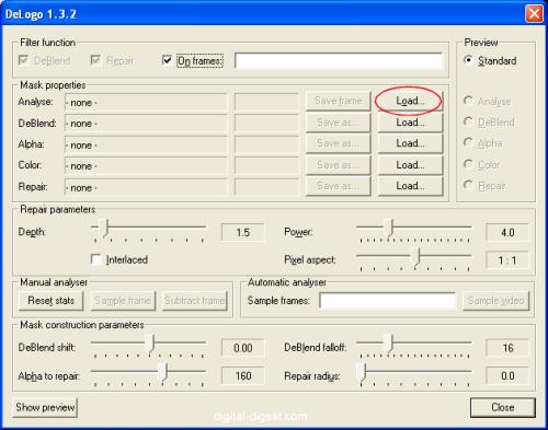 VirtualDub: DeLogo - Analyse Load