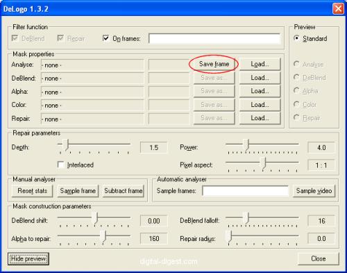 VirtualDub: DeLogo - Save Frame