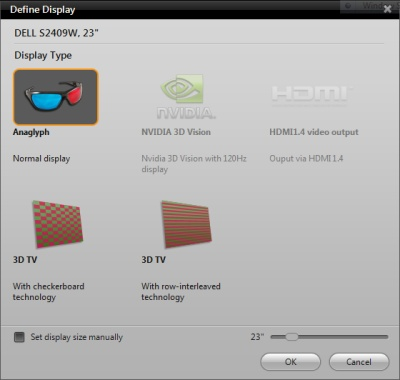 WinDVD 11: 3D Options