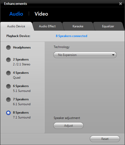 WinDVD 11 Tools: Enhancements, Audio Devices