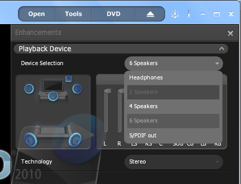 WinDVD 2010 Enhancements: Playback Device