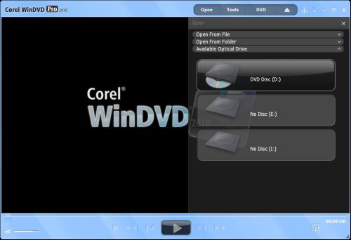 WinDVD 2010's Open Media Panel