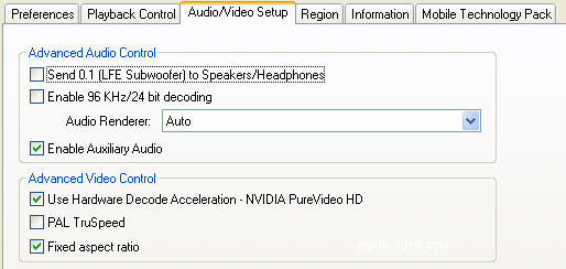 WinDVD 9 Setup: Audio/Video Setup