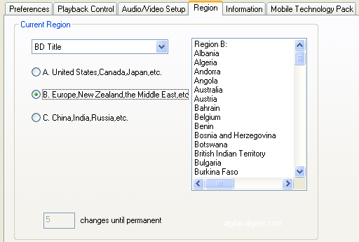 WinDVD 9 Setup: Region