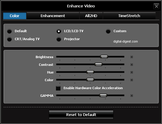 WinDVD 9's Video Color Settings