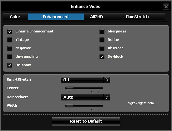 WinDVD 9's Video Enhancement Settings