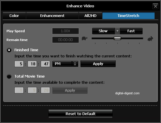 WinDVD 9's TimeStretch Settings