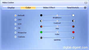 WinDVD 8.0's Color Settings