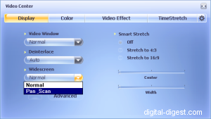 WinDVD 8.0's Widescreen options
