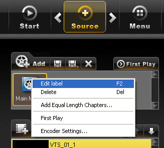 EasyDVD: Source - Movie Options