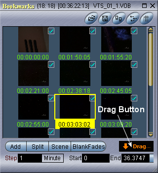 Womble MPEG Video Wizard: BookMark Browser - Drag Button