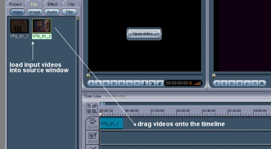 Womble MPEG Video Wizard: Source, Drag to Timeline