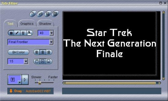 Womble MPEG Video Wizard: Title Editor Window