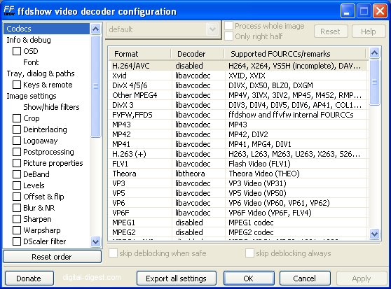 ffdshow: video decoder configuration