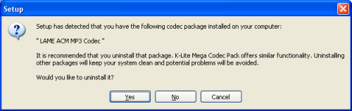 K-Lite Mega Codec Pack: Recommended Uninstall