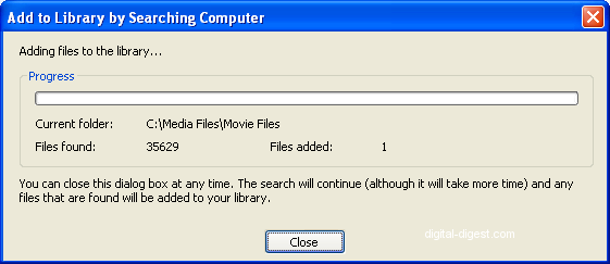 Windows Media Player: Media Sharing - Add to Library