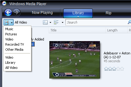 Windows Media Player: Browse Category