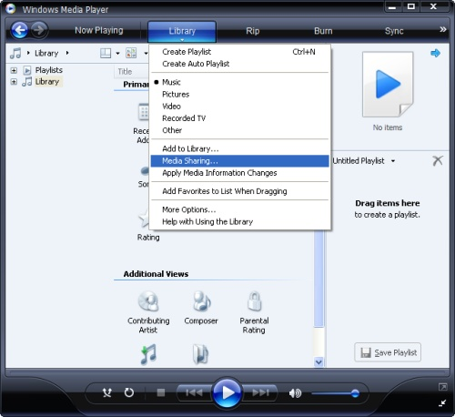 Windows Media Player: Library Menu