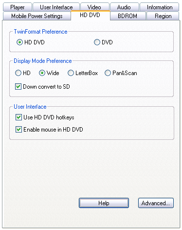 PowerDVD Ultra: HD DVD Settings