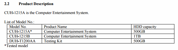PS4 FCC Filings