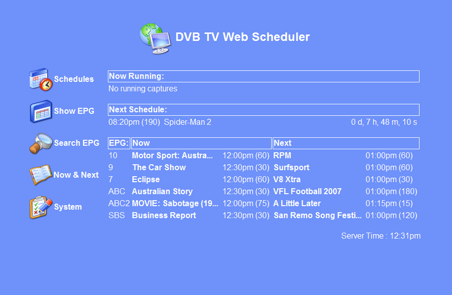 dvb webscheduler