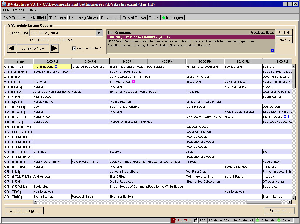 DVArchive 32  Software  Digital Digest ~ Wand Tv Programming Schedule