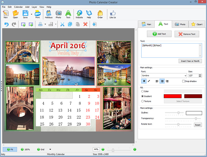 Calendar Design Software : Ams software photo calendar maker v settstarim